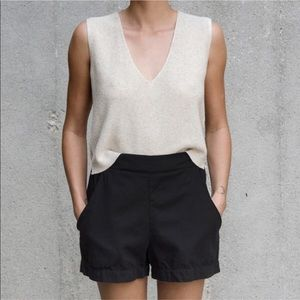 Ali Golden // Cropped Linen Blend Knit Tank